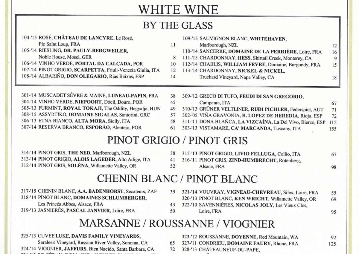 How is a modern wine list created?