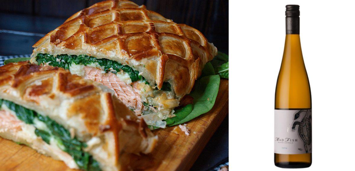 Hojaldre de salmón y espinacas a la crema con Madfish Riesling