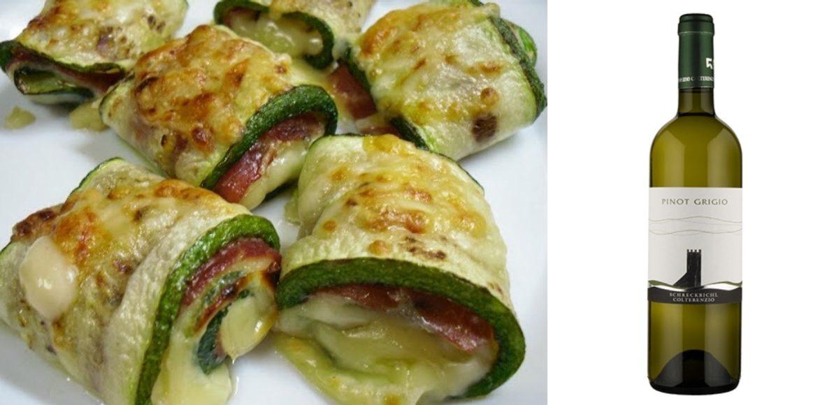 Receta Involtini de calabacín, jamón y queso con Colterenzio Pinot Grigio