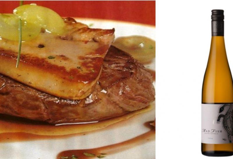 Solomillo ibérico con foie y módena & Madfish Riesling
