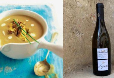 Crema de alcachofas con foie & Laport Grand Montain Sancerre