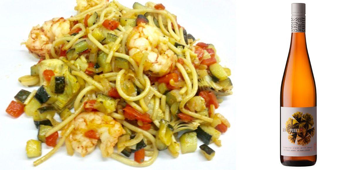 Receta & Vino. Spaghetti con verduras y gambas & Düfte Punkt